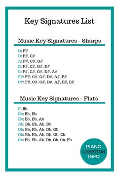 Music key signatures list. All the key signatures - sharps and flats. Sharps and flats written out.