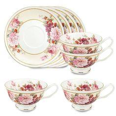 Gracie Bone China 8-Ounce Tea Cup and Saucer, Pink Peony ...