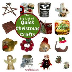 Got no time these Holidays? This list of quick Christmas crafts has been created by popular demand for all those crafters who don't have the time to scan through all our projects. These Chris…