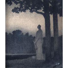 Alphonse Osbert 1857 - 1939, Rêverie au clair de lune, charcoal and pencil on paper