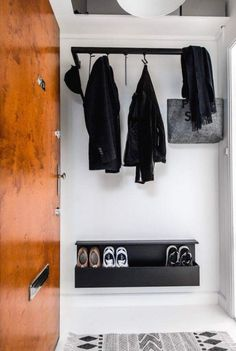 HangSys is an elegant wall mounted hanging system which can be used for our MagHang and MagHook. Porch Storage, Small Storage, Shoe Storage, Boutique Interior, Diy Interior, Wardrobe Systems, Wardrobe Solutions, Portfolio Design, Schrift Design