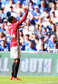 Jesse Lingard of Manchester United celebrates after scoring his sides first goal during The FA Community Shield match between Leicester City and...