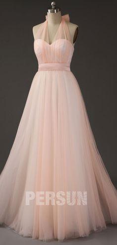 robe demoiselle d'honneur corail pale halter en tulle 2019