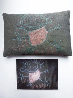 Création textile Zut! pièce unique Dessin à la craie de Corto 3 ans Surprise pour sa maman ! http://www.atelier-zutfrance.com/