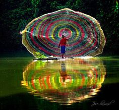 fishing with a rainbow colored net