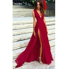 Red Long Sexy Slit Prom Dress V Neck Evening Party Dress 2018 abiti da sera Girls Dresses, Prom Dresses, Sexy Dresses, Formal Dresses, Long Dresses, Evening Party Gowns, Evening Dresses, Traje A Rigor, Matric Dance Dresses