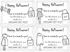 Halloween Homework Passes- FREEBIE