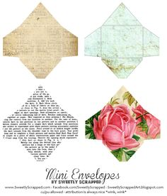 Sweetly Scrapped-mini envelopes with note cards Printable Labels, Printable Paper, Free Printables, Printable Templates, Diy Paper, Paper Crafts, Diy Crafts, Mini Envelopes, Cash Envelopes