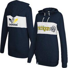 adidas Michigan Wolverines Ladies Scrunch Neck Pullover Hoodie - Navy Blue