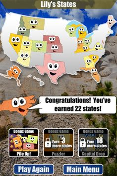 stack the states app you are asked various questions about the 50 states including capitals state shapes abbreviations bordering states