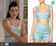Hester's blue jacquard crop top and shorts set on Scream Queens.  Outfit Details: http://wornontv.net/53792/ #ScreamQueens
