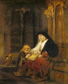 Rembrandt (Werkstatt) - The prophet Hannah in the temple, Samuel's prayer testing.