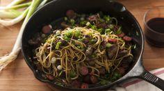 ספגטי מנחם עם כבדים, קבנוס, צ'ילי ובזיליקום