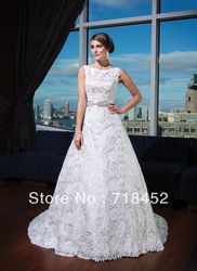 Online Shop Vintage Lace Wedding Dresses High Neck Open Back A Line Sashes Beading Floor Length Free Shipping NW889|Aliexpress Mobile