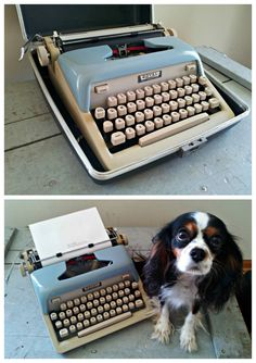 Vintage Portable Manual Typewriter - Royal McBee All American - Two Toned Baby Blue and Putty on Etsy, $139.99