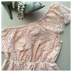 """Everly   Blush Pink/White Lace One-Shoulder Dress Time to get pretty in pink! This pink dress, with a white lace overlay, is perfect for summer wedding season! Pullover style with stretchy elastic waist. Ruffles line the one-shoulder neckline. Length is 32"""". Fits a size S or XS. Like-new condition! Open to offers 😃✌🏾️ Everly Dresses One Shoulder"""