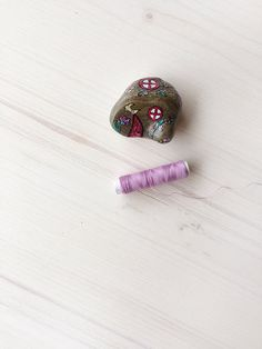 OOAK miniature Fairy Garden House with Fairies hand painted on stone