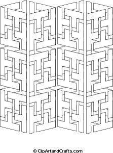 Tricky adult design to color: geometric interlocking shapes 3D towers coloring page, clipartandcrafts.com