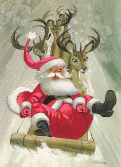 Look out!!!! Vintage 1960s Christmas Card of Santa in his Sleigh