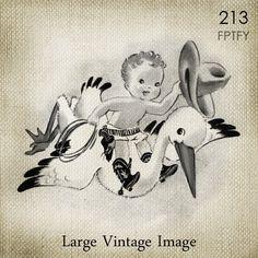 Cute Vintage Baby CowBoy unisex LARGE Digital Vintage by ptfy, $2.00