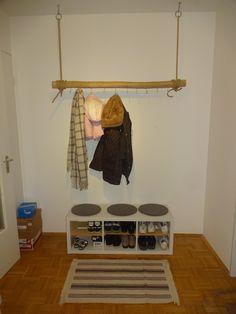 DIY Flurideen , Garderobe Baumstamm, Ikea Kallax