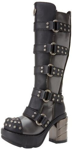 "Pleaser Women's Sinister 302 DGY B Ankle Boot - Alternative, defiant and nonconfomring enthusiasts look no further than Demonia for the most cutting-edge, beyond the ordinary line of footwear. The demonic diva connotation is by no means gender exclusive. These knee high Boots feature stud detail on toe, and on the multiple buckles going up the side of the Boots, a 3.5"" heel and 1.5"" platform. $176.95"
