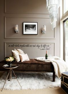 dark taupe walls in bedroom | throw, ivory pillows, taupe walls, molding, wall molding, taupe wall ...