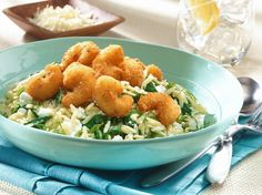 Popcorn Shrimp and Cheesy Spinach Orzo