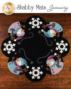 Shabby Fabrics is an online quilting shop for fabric, notions, patterns, & kits. Felt Embroidery, Felt Applique, Christmas Embroidery, Christmas Sewing, Felt Christmas, Christmas Crafts, Xmas, Penny Rug Patterns, Wool Applique Patterns
