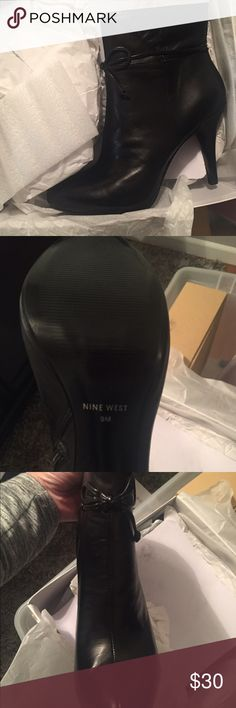 Black leather Nine West ankle booties never worn! Black leather Nine West ankle booties - never worn! Heel is 4 inches, same booties on my page also sold in brown leather, see for more pictures.  Still packed in original box! Nine West Shoes Ankle Boots & Booties