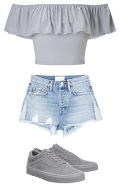 """grey ripped shorts,casual"" by jadej-ii ❤ liked on Polyvore featuring Current/Elliott, Miss Selfridge and Vans"