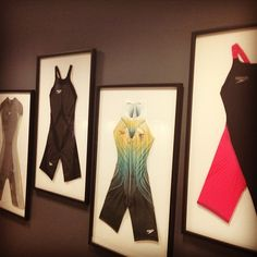 Framed collection of Speedo Fastskin racing suits at Speedo House