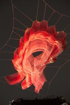 Janet Echelman installation for Lumiere London Artistic Installation, Light Installation, Art Installations, Juan Sanchez Cotan, Janet Echelman, Modern Art, Contemporary Art, Instalation Art, Light Art