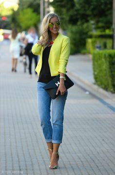 H&m Yellow Women's Tailored Crop Blazer
