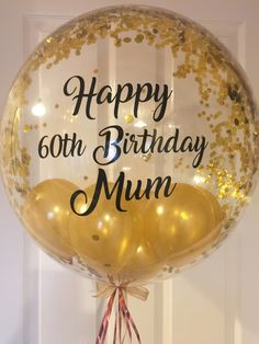 Personalised 60th Birthday Balloon 50th Gold Confetti 40th Custom Inflated