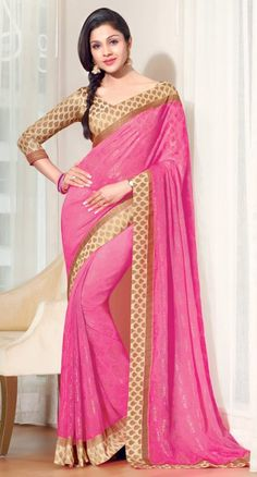 Pink Color Faux Chiffon Indian Saree