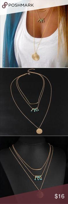 Stunning MultiLayer Necklace This necklace is absolutely gorgeous! It is all connected in the back with a lobster clasp. Gold toned with turquoise colored stones. New in package! Jewelry Necklaces