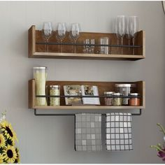 Set of 2 Rustic Kitchen Wood Wall Shelf with Metal Rail Also Multi Use Can Be Used As a Spice Rack Living Room or Bedroom Wall Shelf Walnut Stained >>> Read more at the image link. Floating Shelves Kitchen, Rustic Shelves, Kitchen Shelves, Kitchen Storage, Wall Shelf Decor, Wood Wall Shelf, Hanging Shelves, Diy Wall, Small Kitchen Renovations