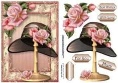 Gorgeous Edwardian Roses Hat Stand on Craftsuprint designed by Anne Lever - This lovely topper features a fabulous vintage style hat on a stand, adorned with gorgeous pink edwardian roses, on the matching frame. It has decoupage, four greetings and a blank greetings tile. The greetings are, best wishes, with love, for you and mum.  - Now available for download!