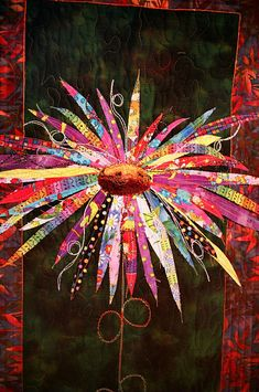 Wildflower done by Fibre artist Carolyn Flood - picture from Georgie_grrl's photostream on flicker. What a gorgous art quilt! Wildflower, a quilt but could be done with paper too.It's ART! Patchwork Quilting, Applique Quilts, Art Quilting, Crazy Quilting, Quilting Projects, Quilting Designs, Applique Designs, Quilting Ideas, Pintura Graffiti