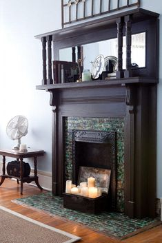 this incredible candle fireplace is very strong, but very feminine with the tiles. Unused Fireplace, Candles In Fireplace, Fireplace Mirror, Faux Fireplace, Fireplace Remodel, Fireplace Ideas, Fireplaces, Pub Interior, Interior Ideas