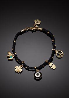 Black and Gold Hamsa Charm Bracelet