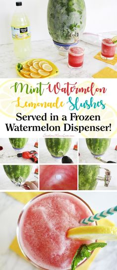 I recently made a delicious mint watermelon lemonade slush that is the perfect way to cool down on a hot day. I thought this would be a great drink to serve at our next cookout, but how to keep them cold and slushy? I turned a watermelon into a slush drin