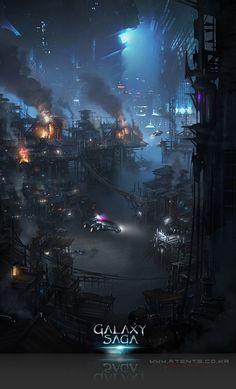 Artist: Atents - Title: 05galaxy2 - Card: Unknown Futuristic City, Futuristic Technology, Cyberpunk, Game Art, Saga, Amazing Art, Science Fiction, Fantasy Art, Concept Art