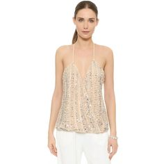 Parker Hartford Sequin Top (€360) ❤ liked on Polyvore featuring tops, sand, wrap top, parker top, sequin embellished top, sleeveless tops and embellished tops