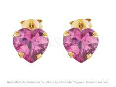 Solid 14k gold heart studs-Tiny gold Heart-Amethyst Studs Earrings-pink CZ heart gold Earrings-heart post Earrings-Heart Studs-Gold Post