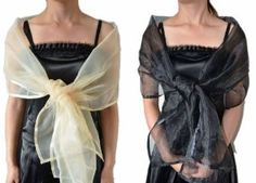 Sheer Soft Organza Bridal Wedding Party Office Evening Shawl/Wrap(Black) by IDOBRIDAL. $16.99. Shown Color:?White, Black, Champagne, Gray.. Edge Style:Appliques Edge. length: 74'' Width: 19''(inch). Fabric:Organza. Handmade In USA.