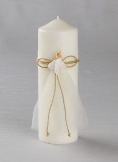 "This Seashore Collection Pillar Candle is accented with seashells, cording and sheer organza ribbon. Pillar is smokeless and drip less. Comes with plain taper candles.  Pillar - 9"" H x 3"" Diameter  Tapers - 10"" H"