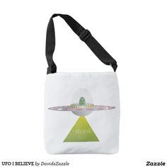 UFO I BELIEVE Tote Bag  Available on more products! Type in the name of this design in the search bar on my Zazzle products page to see them all!  #ufo #alien #space #outer #universe #ship #flying #saucer #little #green #men #conspiracy #theory #cartoon #illustration #funny #drawing #digital #scifi #science #fiction #buy #zazzle #sale #for #sale #tote #bag #womens #fashion #life #style #lifestyle