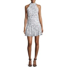 Elizabeth and James Wind Carlita Halter-Neck Mini Dress ($425) ❤ liked on Polyvore featuring dresses, sequin mini dress, short sequin dress, short sequin cocktail dresses, ruched dress and drop waist dress